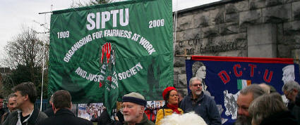 SIPTU and Dublin Trades Council banners.