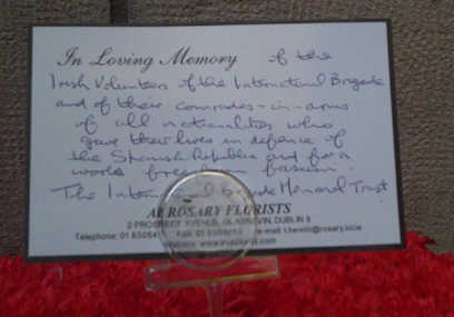 The message on the wreath at Liberty Hall, 15th Oct. 2005.