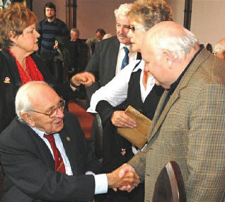 Jack Jones meets local activist in the Church of Ireland, Inistioge